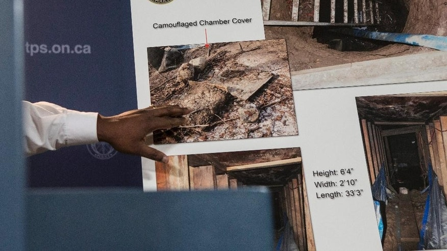 Toronto's Deputy Police Chief Mark Saunders gestures as he explains evidence photos to the media about a tunnel found near York University in Toronto during a press conference in Toronto on Tuesday, Feb. 24, 2015. Police are asking for the public's help in trying to determine who built the mysterious underground tunnel. (AP Photo/The Canadian Press, Chris Young)