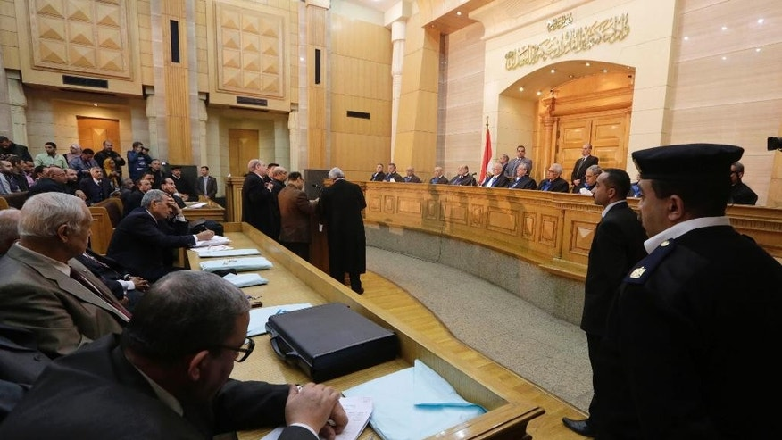 The Supreme Constitutional Court holds a session on the legality of the laws governing the electoral process on grounds that they violate Egypt's principle of fair representation in Cairo, Egypt, Wednesday, Feb. 25, 2015. Judge Anwar Rashad al-Assi said the court will make a ruling this coming Sunday. (AP Photo/Amr Nabil)