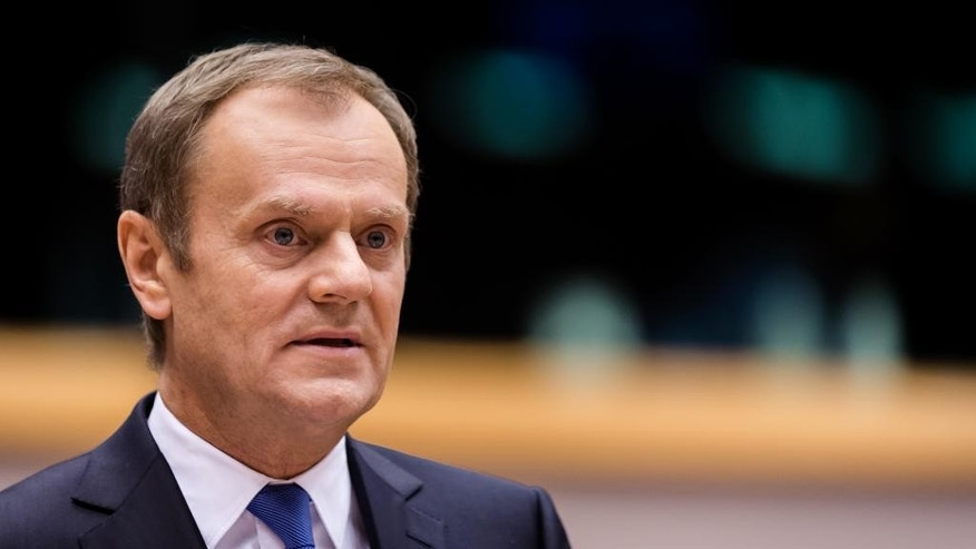 European Council President Donald Tusk talks during a plenary session at the European Parliament in Brussels on Wednesday, Feb. 25, 2015. (AP Photo/Geert Vanden Wijngaert)