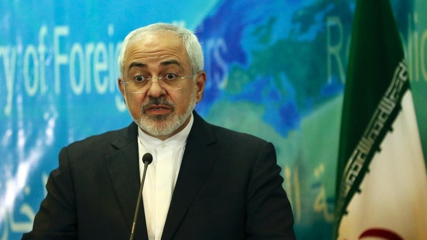 Iranian Foreign Minister Mohammad Javad Zarif speaks at a press conference with his Iraqi counterpart Ibrahim al-Jaafari in Baghdad, Iraq, Tuesday, Feb. 24, 2015. (AP Photo/Khalid Mohammed)