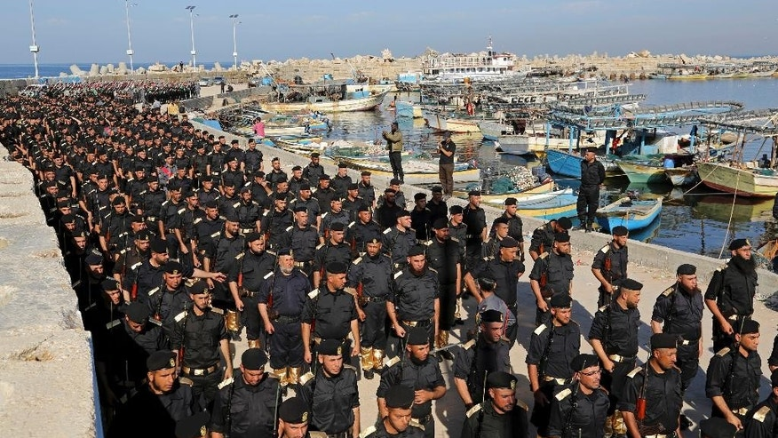 Dec. 4, 2014: Members of the Palestinian Hamas security forces participate in their graduation ceremony at the fisherman's port in Gaza City, northern Gaza Strip. (AP)