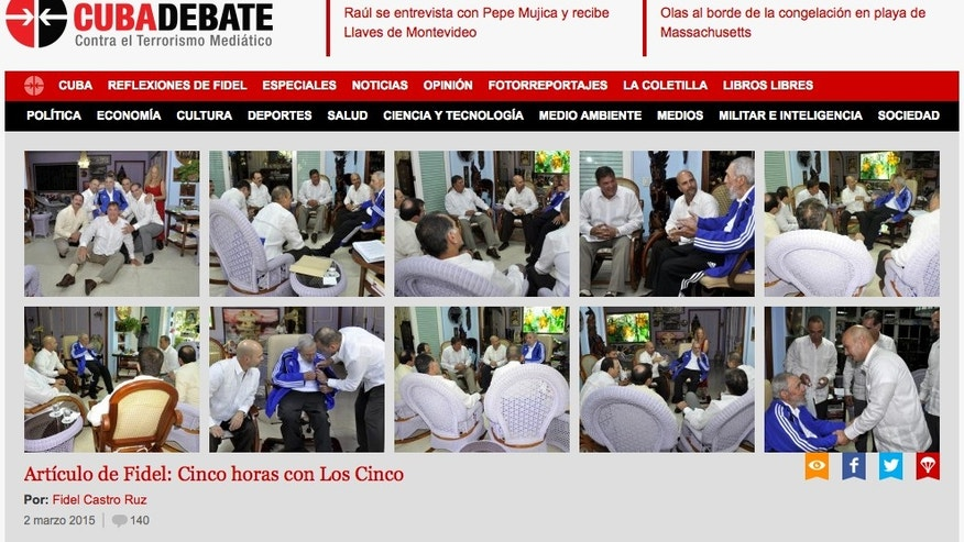 A screenshot of Cuba's web site Cubadebate, taken on Monday, March 2, 2015, shows photographs of former president and revolutionary leader Fidel Castro meeting with the five Cuban agents who were the focus of a years-long political battle for their return to the island, in Havana, Cuba. The United States returned three of the men, Gerardo Hernandez, Ramon Labanino and Antonio Guerrero, to Cuba on Dec. 17, 2014 under a prisoner exchange. The others, Rene Gonzalez and Fernando Gonzalez, were already free after completing their U.S. prison sentences.  The official daily Granma reported on Monday, March 2, 2015 that the meeting occurred on Saturday, Feb. 28, 2105. (AP Photo)