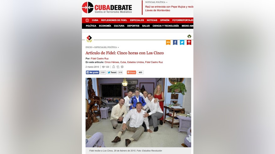 A screenshot of Cuba's web site Cubadebate, taken on Monday, March 2, 2015, show a photograph of former president and revolutionary leader Fidel Castro meeting with the five Cuban agents who were the focus of a years-long political battle for their return to the island, in Havana, Cuba. The United States returned three of the men, Gerardo Hernandez, Ramon Labanino and Antonio Guerrero, to Cuba on Dec. 17, 2014 under a prisoner exchange. The others, Rene Gonzalez and Fernando Gonzalez, were already free after completing their U.S. prison sentences. The official daily Granma reported on Monday, March 2, 2015 that the meeting occurred on Saturday, Feb. 28, 2105. (AP Photo)