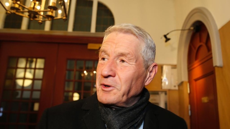 Thorbjoern Jagland, former chair of The Norwegian Nobel Committee, arrives at the Nobel institute in Oslo, Tuesday, March 3, 2015. The Nobel Peace Prize awarding Norwegian Nobel Committee has elected a new chairman to replace Thorbjoern Jagland, whose six-year tenure has been lined with controversies. The former labor politician was replaced Tuesday by the panel's deputy chairman, Kaci Kullmann Five, a former conservative party leader. (AP Photo,Terje Pedersen, NTB scanpix)