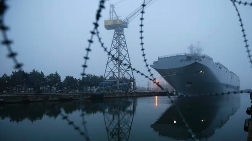 FILE 2014: The Mistral-class helicopter carrier Vladivostok is seen in Saint-Nazaire, western France.