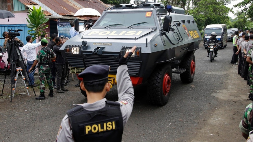 March 4, 2015: One of Indonesian police armored vehicles carrying two Australian prisoners arrives at Wijaya Pura port in Cilacap, Central Java, Indonesia.