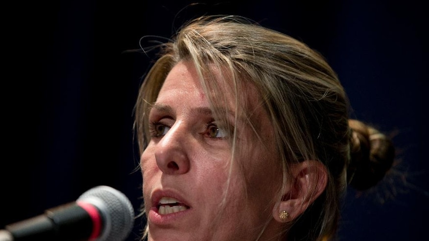 Sandra Arroyo Salgado , ex-wife of the late Argentina prosecutor Alberto Nisman, talks during a press conference in Buenos Aires, Argentina, Thursday, March 5, 2015.  Salgado said that experts hired by the family of Argentine prosecutor concluded that he was killed and ruled out the hypothesis of suicide. (AP Photo/Natacha Pisarenko)