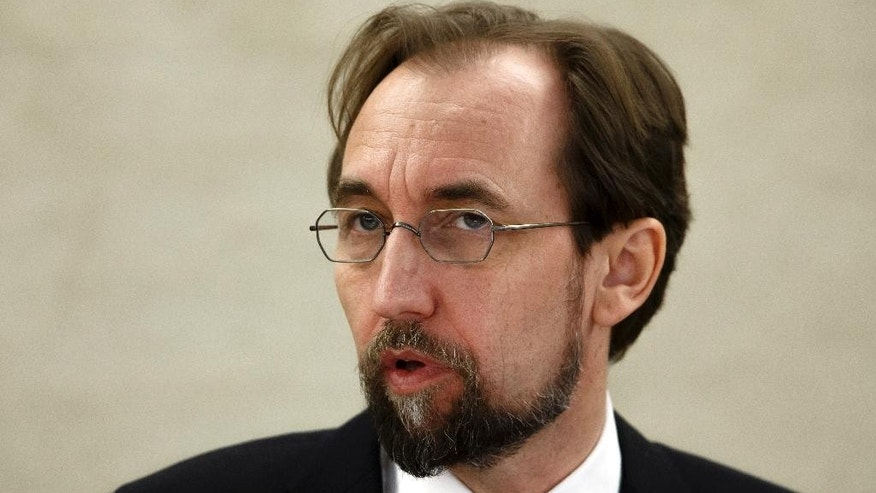 UN High Commissioner for Human Rights, Jordan's Zeid Ra'ad al Hussein attends the High-Level Segment of the 28th session of the Human Rights Council, at the European headquarters of the United Nations in Geneva, Switzerland, Monday, March 2, 2015. The Human Rights Council opens a four-week session with member states and top officials. (AP Photo/Keystone, Salvatore Di Nolfi)
