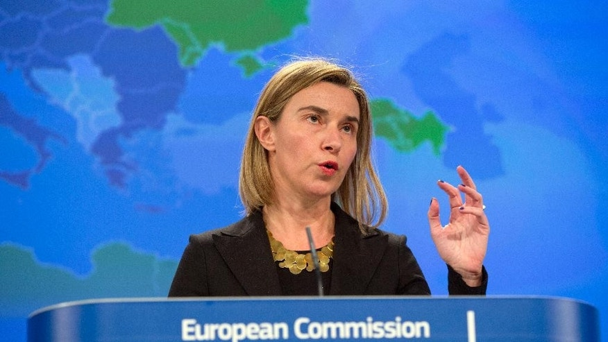 European Union High Representative Federica Mogherini speaks during a media conference at EU headquarters in Brussels on Wednesday, March 4, 2015. The European Union is rethinking part of its foreign policy to better adapt to crises like it faces in Ukraine, Russia and Syria without having to be overly dependent on allies like the United States. (AP Photo/Virginia Mayo)