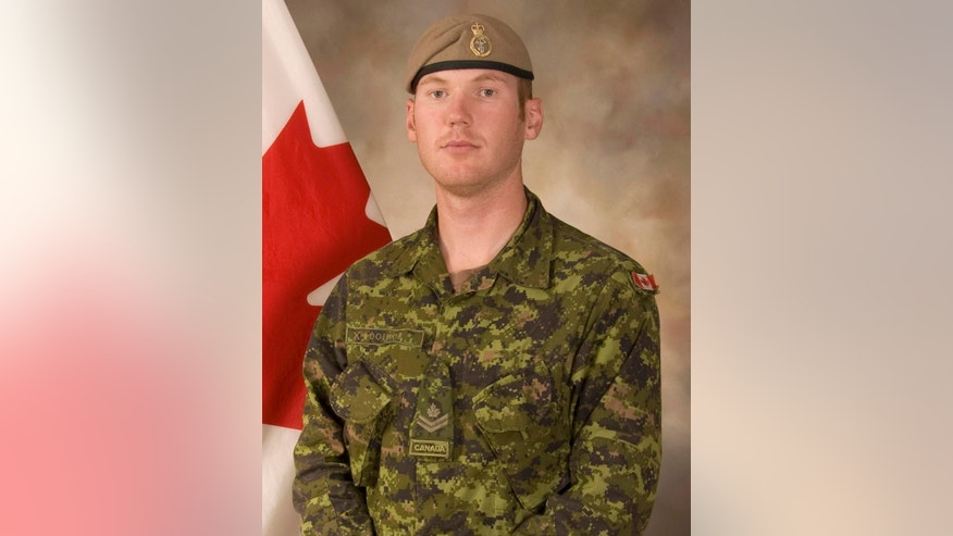 This Sept. 16, 2009 photo shows Sgt. Andrew Joseph Doiron, a member of the Canadian Special Operations Regiment based at Garrison Petawawa, Ontario, Canada.  Doiron was killed and three others wounded in a friendly fire incident in northern Iraq, Canada's defense department said Saturday, March 7, 2015.  (AP Photo/Canadian Armed Forces via The Canadian Press)