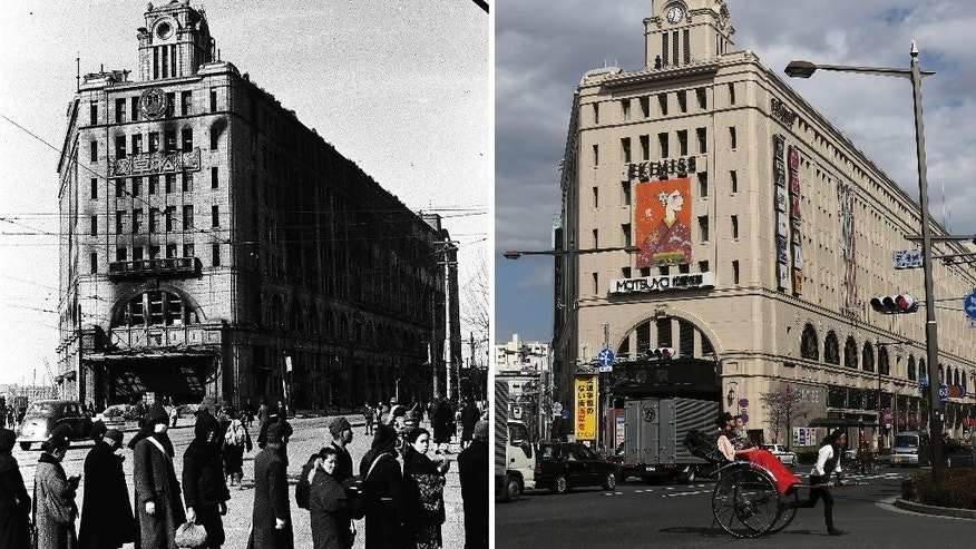 This combo of two photos shows initial destruction and reconstruction after the March 10, 1945 firebombing. The top photo taken on March 19, 1945 shows damaged Matsuya department store after Tokyo firebombing. The bottom photo taken 70 years later on Feb. 27, 2015, shows the structure still in use as train station and shopping mall complex in Asakusa district in Tokyo. (AP Photo/The Center of the Tokyo Raids and War Damage, Eugene Hoshiko)