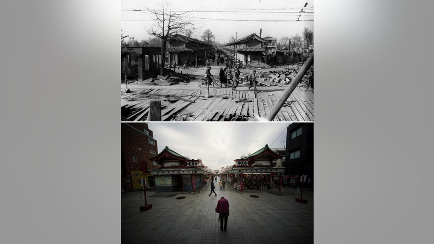 This combo of two photos shows initial destruction and reconstruction after the March 10, 1945 firebombing. The top photo taken on March 19, 1945 shows  survivors commute through destroyed Nakamise shopping street after Tokyo firebombing. The bottom photo taken 70 years later on March 7, 2015, shows a visitor prays toward Sensoji Temple at the start of the Nakamise shopping street in Asakusa district in Tokyo. (AP Photo/The Center of the Tokyo Raids and War Damage, Eugene Hoshiko)