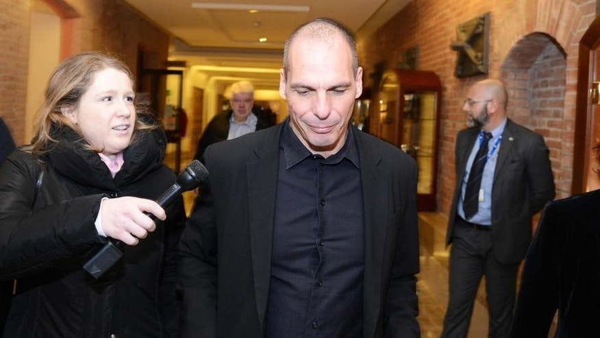 "Greek Finance Minister Yanis Varoufakis arrives to attend a 2-day international conference on ""Assessing Risk: Business in Global Disorder"" in Venice, Italy, Saturday, March 7, 2015. A meeting of eurozone finance ministers is scheduled for Monday, March 9, 2015 in Brussels. The 19 finance ministers are to discuss how much progress Greece has made since the financially stricken country sent the ministers a list of reforms late last month to win a four-month extension of the European part of its international bailout. (AP Photo/Davide Bolzoni, Ansa)"