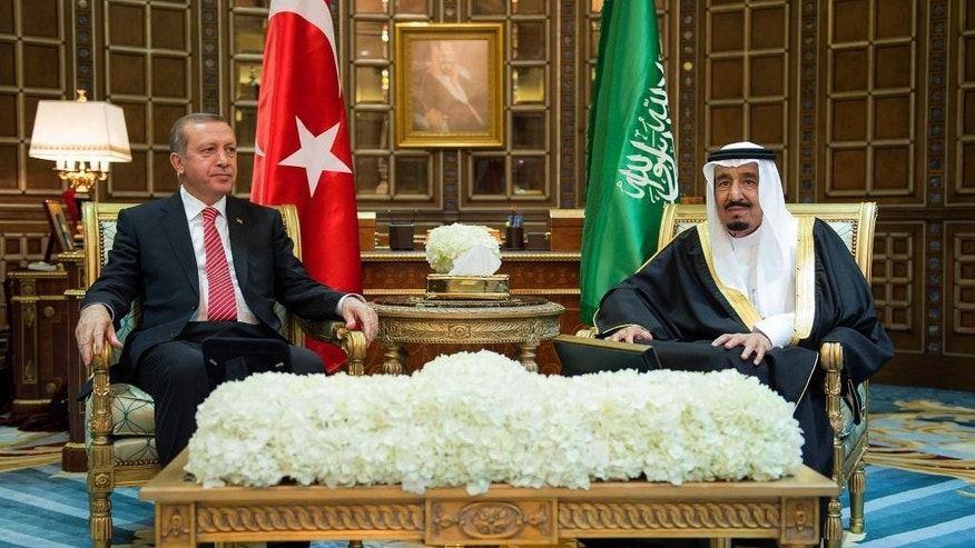FILE - In this Monday, March 2, 2015 file photo provided by the Saudi Press Agency, Turkey's President Recep Tayyip Erdogan, left, meets with Saudi King Salman, in Riyadh, Saudi Arabia. Under its new monarch, Saudi Arabia is moving to improve relations with Turkey and Qatar and perhaps soften its stance against the Muslim Brotherhood, all with the aim of weakening Iran. But the shift could open rifts with its ally Egypt. (AP Photo/SPA, File)