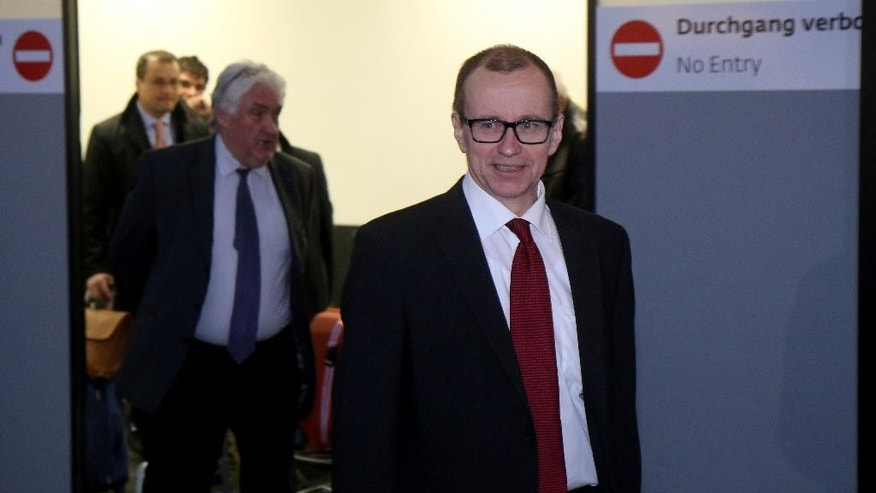 Tero Tapio Varjoranta   Deputy Director General and Head of the Department of Safeguards of the International Atomic Energy Agency, IAEA, arrives from Iran at Vienna's Schwechat airport, in Vienna, Austria, Tuesday, March 10, 2015. (AP Photo/Ronald Zak)