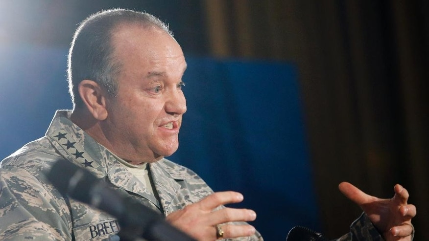 Supreme Allied Commander Europe, General Philip Breedlove, addresses the media at Supreme Headquarters Allied Powers in Europe (SHAPE) in Mons, Belgium on Wednesday, March 11, 2015. NATO's secretary-general is insisting international observers be given the freedom of movement and protection they need to monitor the cease fire in Ukraine. (AP Photo/Olivier Hoslet, Pool)