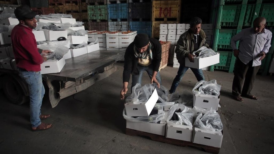 In this Wednesday, March 11, 2015 photo, Palestinian workers load boxes with eggplants to export them to Israel, in the town of Deir el-Balah, central Gaza Strip. Israel on Thursday began importing Gaza's agricultural produce for the first time in about eight years, partly easing one of many restrictions imposed on the Palestinian territory since Islamic Hamas militant group seized it in 2007. (AP Photo/Khalil Hamra)