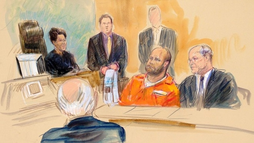 This courtroom artist rendering shows U.S. Magistrate Judge Deborah Robinson, left, presiding during Omar J. Gonzalez's , center, case in court in Washington, Wednesday, Oct. 1, 2014. Gonzalez, accused of jumping a fence at the White House pleaded not guilty Wednesday to charges that he ran into the presidential mansion while carrying a knife.  (AP Photo/Dana Verkouteren)
