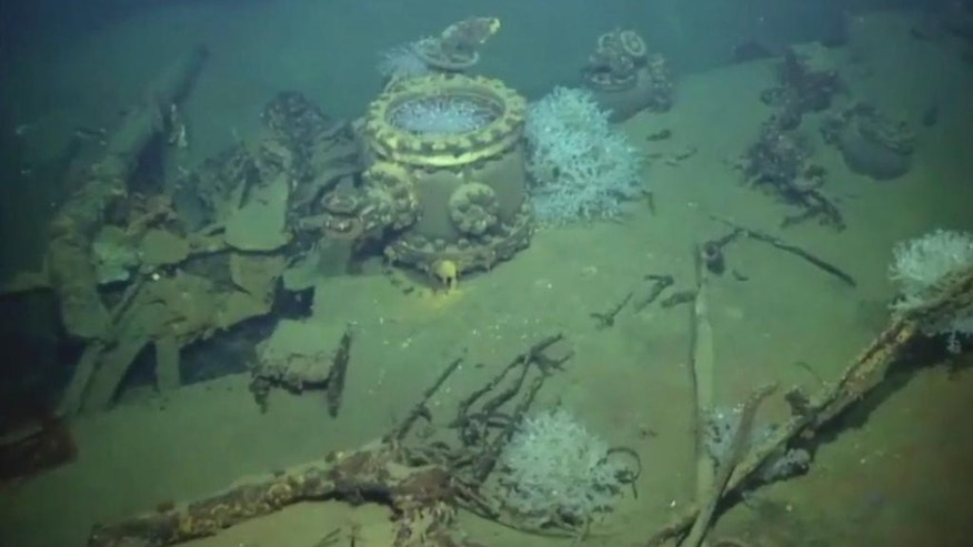 This Friday, March 13, 2015 image made from a video captured by an unmanned underwater probe and provided by Microsoft co-founder and philanthropist Paul Allen shows what Allen's team believes is a massive Japanese World War II battleship sunk off the coast of the Philippines. (AP Photo/Paul G. Allen) MANDATORY CREDIT
