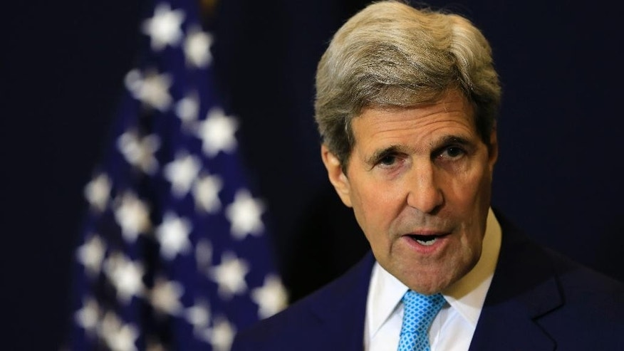 "U.S. Secretary of State John Kerry speaks during a press conference at an economic conference, in Sharm el-Sheikh, Egypt, Saturday, March 14, 2015. Kerry said he hopes Israel elects a government that can address the country's domestic needs and also ""meets the hope for peace."" Kerry said whatever decision Israeli voters make in the election Tuesday, he hopes there will be the chance to move forward on peace efforts afterward. (AP Photo/Hassan Ammar)"