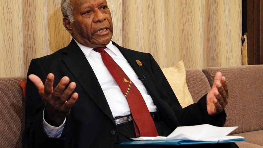 "Vanuatu President Baldwin Lonsdale speaks during an interview in his hotel room in Sendai, Miyagi prefecture, northeastern Japan, Monday, March 16, 2015 while attending a U.N. conference on disaster risk reduction.  The Pacific island nation of Vanuatu has lost years of development progress and must ""start over"" following a powerful cyclone that destroyed or damaged 90 percent of the buildings on the main island of Port Vila, the country's president said Monday. (AP Photo/Koji Ueda)"