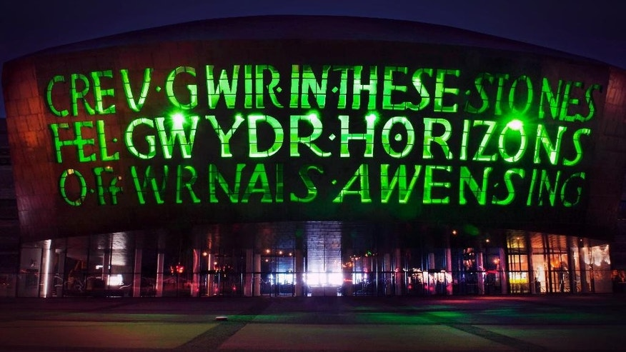 March 16, 2015: This image supplied by Tourism Ireland shows Wales Millennium Centre in Cardiff lit green to celebrate St Patrick's Day on Tuesday. Landmark buildings across Ireland and the world have been floodlit green as global celebrations of the Emerald Isle's patron saint are culminating in parades and celebrations in Dublin and other cities, particularly in the U.S., on St. Patrick's Day.