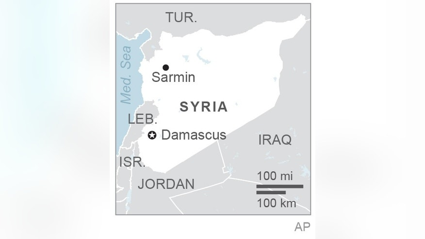 Map locates Sarmin, Syria; 1c x 2 inches; 46.5 mm x 50 mm;