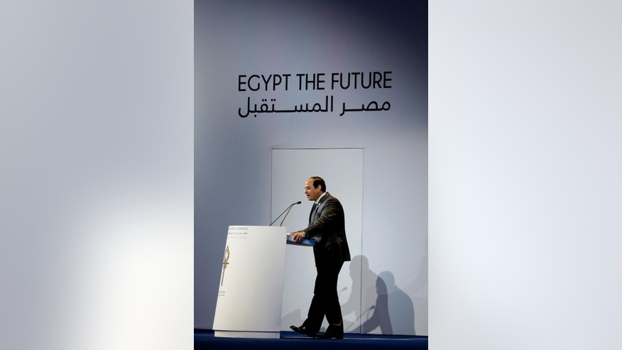 FILE - In this Sunday, March 15, 2015 file photo, Egyptian President Abdel-Fattah el-Sissi speaks during the final day of a major economic conference that has injected billions of dollars' worth of aid and investment in his country, in Sharm el-Sheikh, Egypt. The three-day conference raised over $36 billion dollars from mostly foreign investors an impressive achievement for the cash-strapped government that is seeking to kick start an economy that had practically come to a halt after four years of turmoil. (AP Photo/Hassan Ammar)