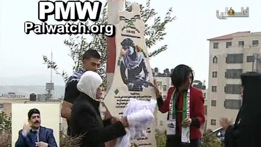 The square was rededicated to last week, on the 37th anniversary of the bloody attack. (Palestinian Media Watch)