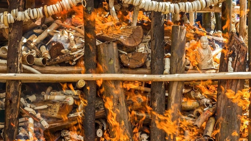 A pile of 6.1 tons of illegal elephant tusks, ivory trinkets, carvings and various forms of jewelry is burned on a wooden pyre that government officials set alight to discourage poaching and the ivory trade, in the capital Addis Ababa, Ethiopia Friday, March 20, 2015. Ethiopia became the second African country this year to burn its ivory stockpile as global efforts increase for the conservation of elephants, a vulnerable species whose numbers are quickly dwindling as they are killed for their ivory tusks. (AP Photo/Mulugeta Ayene)