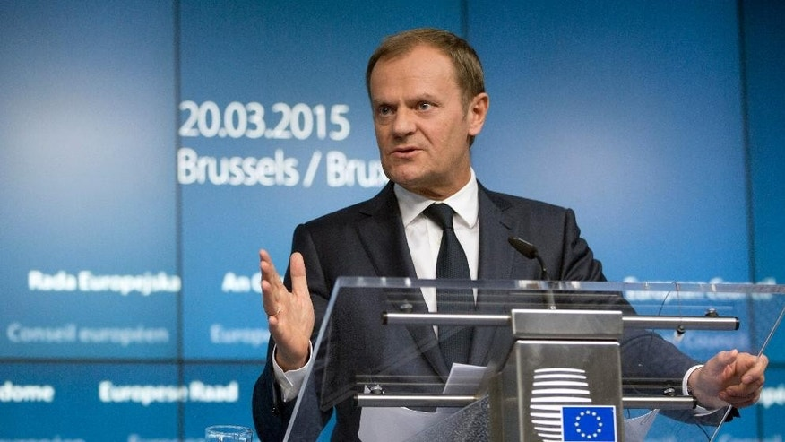 European Council President Donald Tusk speaks during a media conference at an EU summit in Brussels on Friday, March 20, 2015. EU leaders on Friday are looking to back U.N.-brokered efforts to form a national unity government in conflict-torn Libya that may include a possible mission to help provide security. (AP Photo/Virginia Mayo)