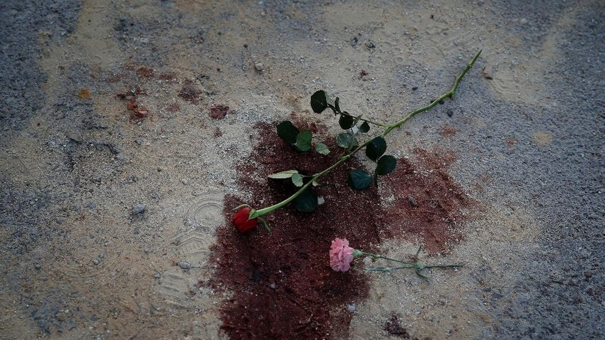 Flowers are placed on a bloodstain during a demonstration in front of the National Bardo Museum a day after gunmen attacked the museum and killed scores of people in Tunis, Tunisia, Thursday, March 19, 2015. The Islamic State group issued a statement Thursday claiming responsibility for the deadly attack on Tunisia's national museum that killed scores of people, mostly tourists. (AP Photo/Christophe Ena)