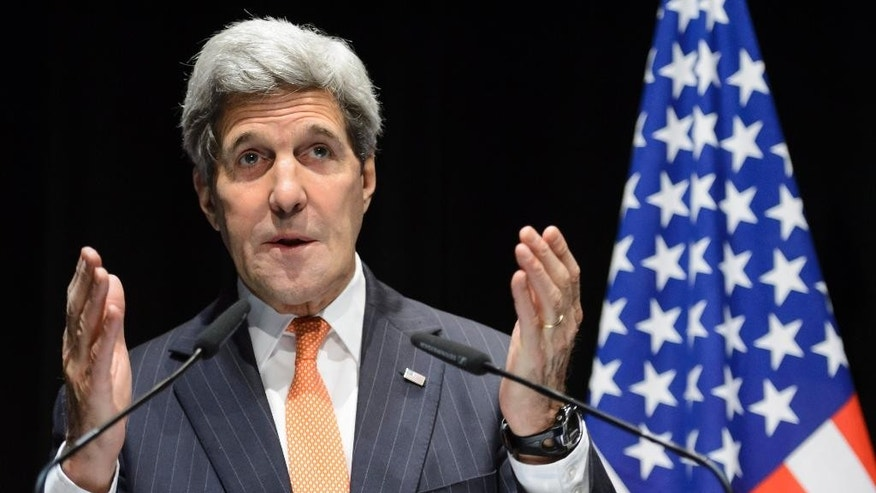U.S. Secretary of State John Kerry speaks during a  news conference after bilateral meetings with Iranian Foreign Minister Mohammad Javad Zarif  about  Iran's nuclear program ,  in Lausanne, Switzerland, at the Olympic Museum, Saturday, March 21, 2015.  (AP Photo/Keystone,Laurent Gillieron)