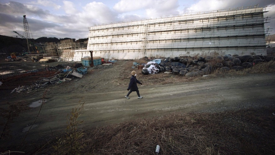 March 5, 2015:  A woman walks near sea walls being built in Rikuzentakata, Iwate Prefecture, northeastern Japan.