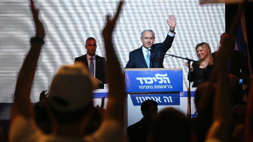 March 18, 2015 - FILE photo of Israeli Prime Minister Benjamin Netanyahu with supporters at the party's election headquarters In Tel Aviv. Netanyahu apologized to Israel's Arab citizens for remarks he made during last week's parliament election which offended members of the community.