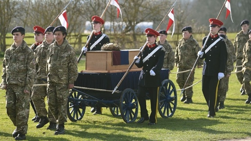 March 22, 2015: The coffin carrying the remains of Richard III leave after a service at Bosworth Battlefield in Nuneaton, Warwickshire, England. (AP Photo/Joe Giddens, PA Wire)