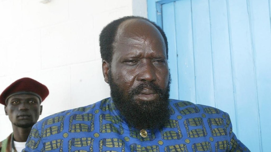 FILE - In this  Monday, Aug. 8 2005 file photo Salva Kiir  is pictured in Juba, southern Sudan.  Lawmakers in South Sudan have voted to extend the tenure of President Salva Kiir by three more years. (AP Photo/Sayyid Azim-File)