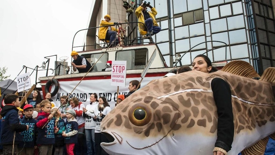 FILE - In this May 13, 2013 file photo, WWF members and sympathizers protest against overfishing of the European seas in front of the EU Council in Brussels. Two studies from environmental groups, obtained Wednesday, March 25, 2015 by The Associated Press ahead of their release, show EU nations continue to overfish their Atlantic waters despite commitments to fish sustainably and stay within safe scientific limits. (AP Photo/Geert Vanden Wijngaert, File)