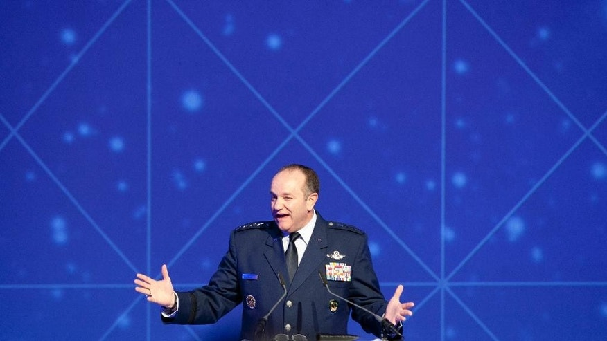 NATO's top commander in Europe U.S. Gen. Philip Breedlove gestures when addressing a conference in Soest, central Netherlands, Wednesday March 25, 2015. NATO defense ministers agreed last month to create a quick-reaction force of 5,000 troops to meet challenges from Russia and Islamic extremists, Breedlove said that alliance nations must be willing to share their intelligence faster if its new rapid reaction force is to be effective in countering threats. (AP Photo/Mike Corder)
