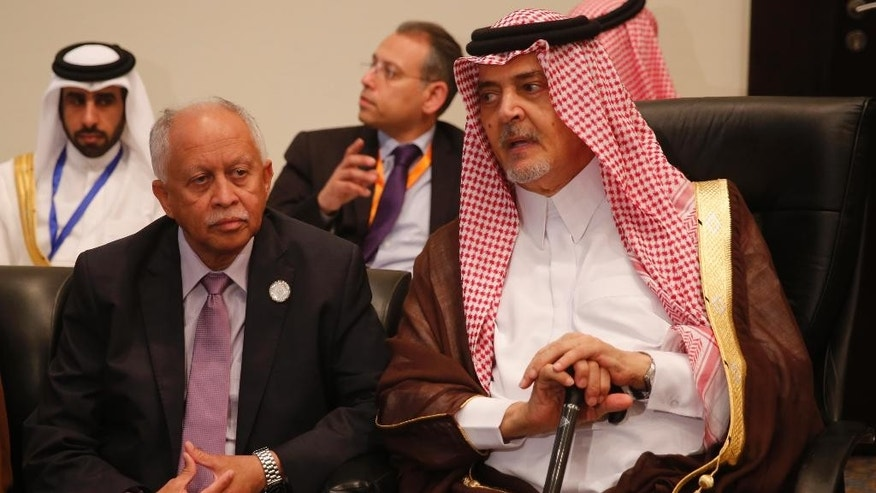 Yemeni Foreign Minister Riad Yassin, left, sits with Saudi Foreign Minister Saud bin Faisal bin Abdulaziz Al Saud, before a meeting of  Arab League foreign ministers in Sharm el-Sheikh, South Sinai, Egypt, Thursday, March 26, 2015. (AP Photo/Amr Abdallah Dalsh, Pool)