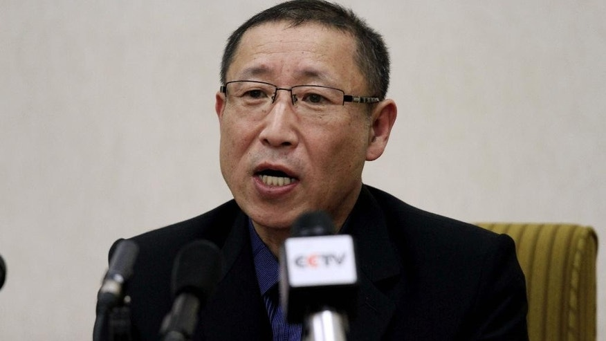 In this Thursday, March 26, 2015 photo, Choe Chun Gil, one of two South Korean men detained in North Korea on charges of spying, speaks in Pyongyang, North Korea. A South Korean government official confirmed Friday that the two are South Korean citizens but could not immediately explain how they entered the North and were detained. (AP Photo/Kim Kwang Hyon)