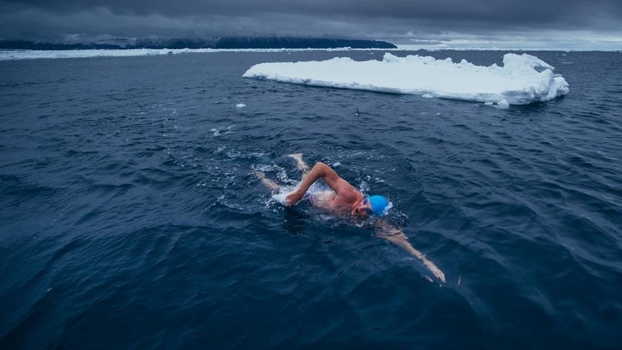 In this Feb. 19, 2015 photo, provided by 5 Swims Expedition, Lewis Pugh, of the United Kingdom, swims past a floating slab of ice in the Ross Sea in Antarctica. An extreme swimmer from Britain, Pugh completed the last of four swims in the ocean near Antarctica this month, including two that were further south than anybody had ever swum before. (AP Photo/Kelvin Trautman)