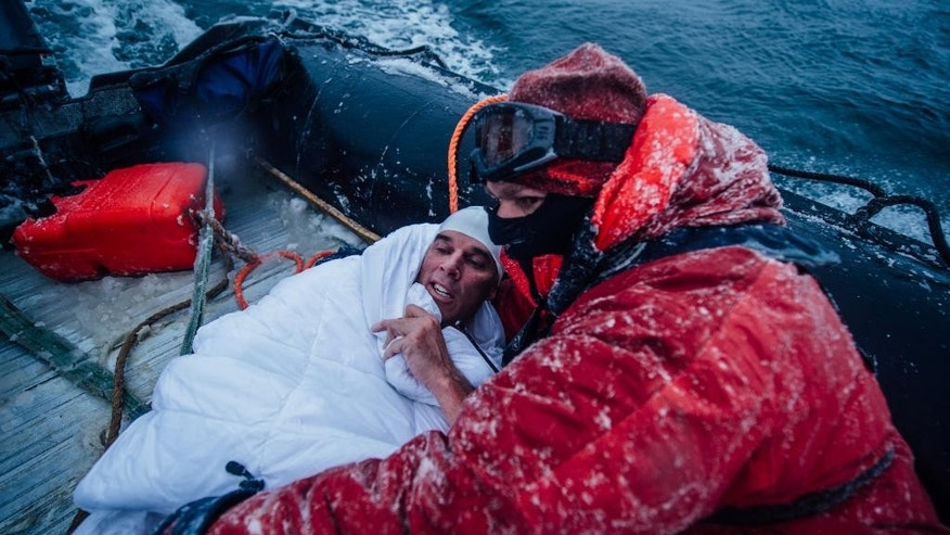 In this Feb. 19, 2015 photo, provided by 5 Swims Expedition, Lewis Pugh, of the United Kingdom, is wrapped in blankets to help warm his body in the Ross Sea in Antarctica. An extreme swimmer from Britain, Pugh completed the last of four swims in the ocean near Antarctica this month, including two that were further south than anybody had ever swum before. (AP Photo/Kelvin Trautman)