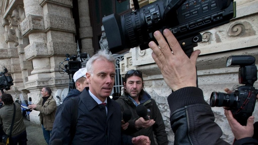 Amanda Knox's lawyers Carlo Dalla Vedova arrives at Italy's highest court building, in Rome, Friday, March 27, 2015. American Amanda Knox and her Italian ex-boyfriend Raffaele Sollecito expect to learn their fate Friday when Italy's highest court hears their appeal of their guilty verdicts in the brutal 2007 murder of Knox's British roommate Meredith Kercher. Several outcomes are possible, including confirmation of the verdicts, a new appeals round, or even a ruling that amounts to an acquittal in the sensational case that has captivated audiences on both sides of the Atlantic. (AP Photo/Alessandra Tarantino )