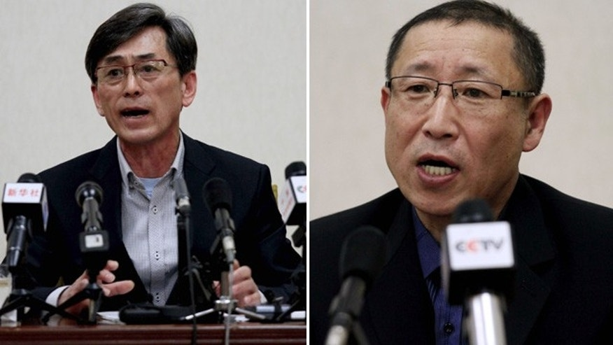 March 26, 2015: Those photos show  Kim Kuk Gi, at left, and Choe Chun Gil, two South Korean men detained in North Korea on charges of spying. (AP Photo/Kim Kwang Hyon)