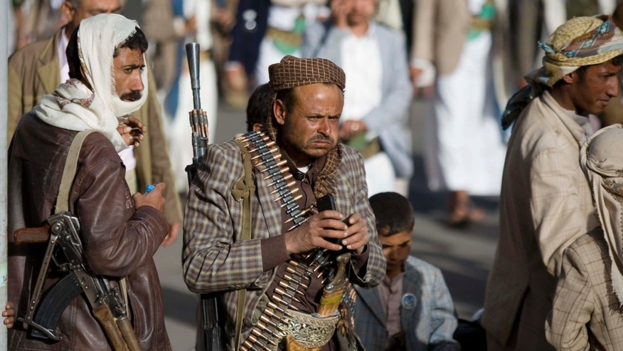 Feb. 20, 2015: Houthi Shiite militants attend a rally to show support for their leader Abdel-Malik al-Houthi in Sanaa, Yemen.