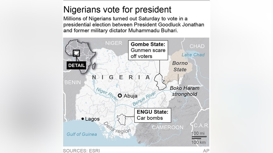Graphic locates two states in Nigeria affected by election violence; 2c x 3 inches; 96.3 mm x 76 mm;
