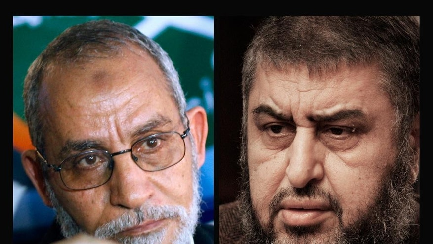 COMBO - This combination of two file photographs shows Muslim Brotherhood leader Mohammed Badie, left, on Tuesday, Oct. 26, 2010 and his deputy Khairat el-Shater, right, on Tuesday, Jan. 24, 2012. Egypt's top prosecutor on Sunday, March 29, 2015 has named 18 Muslim Brotherhood members, including Badie and el-Shater, as terrorists in the first implementation of an anti-terror law passed earlier this year. (AP Photo)