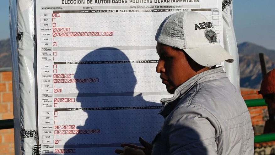 A poll worker marks votes cast in regional elections, after the polls closed in La Paz, Bolivia, Sunday, March 29, 2015. The political hegemony of Bolivia's ruling party is being put to the test Sunday as Bolivians head to the polls to vote in regional elections that will include electing governors, mayors and legislators. (AP Photo/Juan Karita)