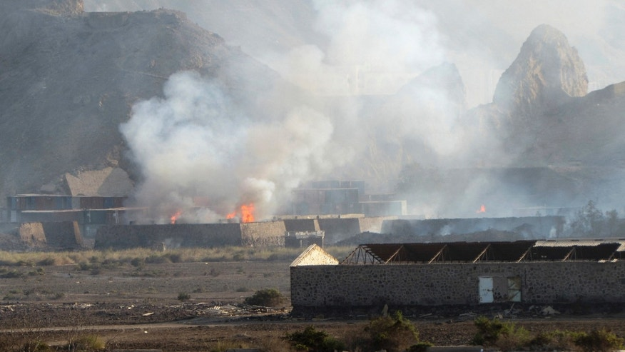 March 28, 2015 - The Jabal al-Hadid military camp in Aden, Yemen after an explosion. The camp had been taken by security forces loyal to ousted leader Ali Abdullah Saleh, killing and wounding several.Yemen's Shiite rebels and security forces loyal to the fmr president launched a new offensive Monday against Aden but were pushed back by 5th day of a Saudi-led air campaign, security officials said.